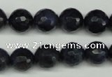 CDU112 15.5 inches 8mm faceted round blue dumortierite beads