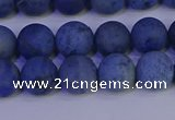 CDU302 15.5 inches 8mm round matte blue dumortierite beads