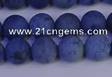 CDU303 15.5 inches 10mm round matte blue dumortierite beads