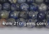 CDU309 15.5 inches 6mm faceted round blue dumortierite beads