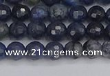 CDU316 15.5 inches 6mm faceted round blue dumortierite beads