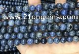 CDU352 15.5 inches 8mm round blue dumortierite beads wholesale