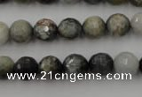 CEE353 15.5 inches 10mm faceted round eagle eye jasper beads