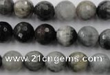 CEE354 15.5 inches 12mm faceted round eagle eye jasper beads