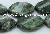 CEM29 15.5 inches 22*30mm twisted teardrop emerald gemstone beads