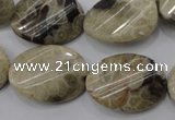 CFA215 15.5 inches 18*25mm twisted oval chrysanthemum agate beads