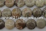 CFA228 15.5 inches 12mm flat round chrysanthemum agate beads