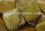 CFA39 15.5 inches 25*25mm square yellow chrysanthemum agate beads