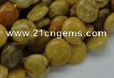 CFA41 15.5 inches 12mm flat round yellow chrysanthemum agate beads