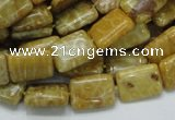 CFA52 15.5 inches 10*14mm rectangle yellow chrysanthemum agate beads