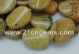CFA59 15.5 inches 15*20mm twisted oval yellow chrysanthemum agate beads
