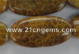 CFA61 15.5 inches 20*40mm oval yellow chrysanthemum agate beads
