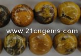 CFA63 15.5 inches 16mm round yellow chrysanthemum agate beads