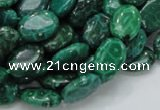 CFA70 15.5 inches 10*14mm oval green chrysanthemum agate beads