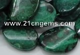 CFA73 15.5 inches 18*25mm twisted oval green chrysanthemum agate beads