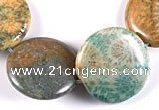 CFC02 22mm coin 15.5 inches fossil coral  beads Wholesale