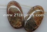CFC104 Top-drilled 20*30mm oval fossil coral beads wholesale