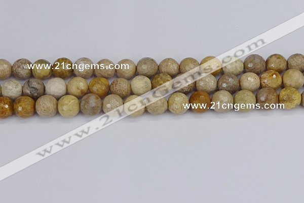 CFC231 15.5 inches 10mm faceted round fossil coral beads