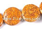 CFC26 25mm coin 15.5 inches fossil coral  beads Wholesale