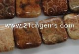CFC95 15.5 inches 16*16mm square fossil coral beads wholesale