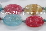 CFG1128 15.5 inches 18*25mm carved oval agate gemstone beads
