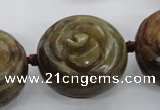 CFG1144 15.5 inches 30mm carved flower flower jade beads
