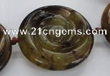 CFG1145 15.5 inches 45mm carved flower flower jade beads
