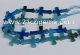 CFG1234 15.5 inches 32*45mm - 35*48mm cross dragon veins agate beads