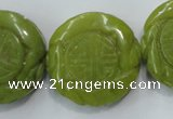 CFG203 15.5 inches 31mm carved coin Korean jade gemstone beads