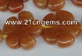 CFG217 15.5 inches 24mm carved flower red aventurine beads