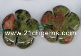 CFG221 15.5 inches 24mm carved flower unakite gemstone beads