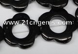 CFG260 15.5 inches 25mm carved flower black agate gemstone beads