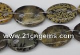 CFG297 15.5 inches 15*20mm carved oval artistic gemstone beads