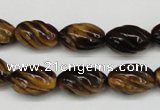 CFG53 15.5 inches 10*16mm carved rice yellow tiger eye gemstone beads