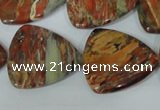 CFG533 15.5 inches 25*25mm carved triangle brecciated jasper beads