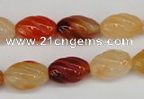 CFG54 15.5 inches 10*16mm carved rice agate gemstone beads