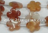 CFG654 15.5 inches 15mm carved flower red quartz beads