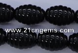 CFG759 15.5 inches 15*20mm carved rice black agate beads