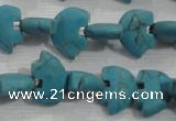 CFG773 15.5 inches 10*15mm carved animal synthetic turquoise beads