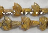 CFG775 15.5 inches 10*15mm carved animal leopard jasper beads