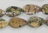 CFG824 12.5 inches 15*20mm carved leaf ocean stone beads wholesale