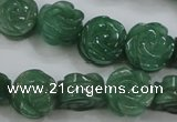 CFG889 15.5 inches 14mm carved flower green aventurine beads
