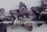 CFG910 15.5 inches 30*33mm carved star dogtooth amethyst beads