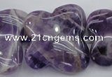 CFG916 15.5 inches 30*33mm carved butterfly dogtooth amethyst beads
