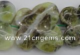 CFG938 15.5 inches 30*33mm carved butterfly yellow & green opal beads