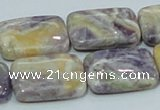 CFJ08 15.5 inches 18*25mm rectangle natural purple flower stone beads