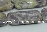 CFJ09 15.5 inches 20*40mm rectangle natural purple flower stone beads