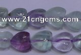 CFL1052 15 inches 10*10mm heart natural fluorite gemstone beads