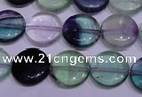 CFL1061 15 inches 10mm flat round natural fluorite gemstone beads