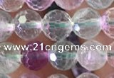 CFL1140 15.5 inches 6mm faceted round fluorite gemstone beads